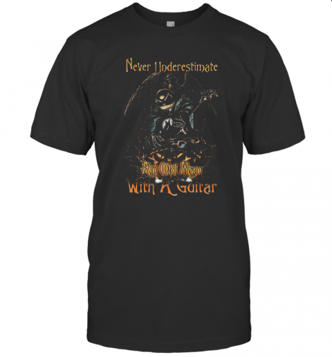 Jack Skellington Nightmare Never Underestimate An Old Man With A Guitar T-Shirt Classic Men's T-shirt