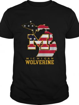 Michigan Wolverine American Map Flag shirt