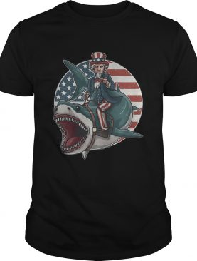 Uncle Sam Riding Great White Shark Independence Day shirt