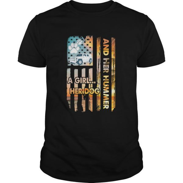 And her hummer a girl her dog car footprint American shirt