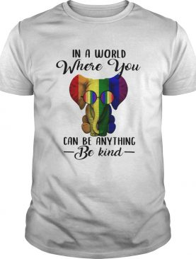 LGBT elephant in a world where you can be anything be kind shirt