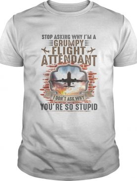 Stop Asking Why Im A Grumpy Flight Attendant Youre So Stupid I Dont Ask Why shirt