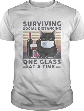 Black Cat Face Mask Wine Surviving social distancing one glass at a time vintage retro shirt