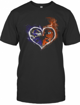 Heart Baltimore Ravens And Baltimore Orioles T-Shirt
