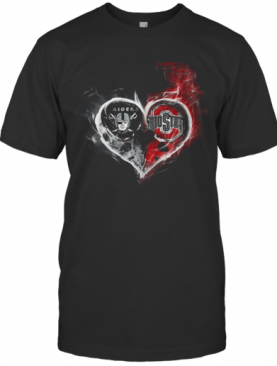 Heart Las Vegas Raiders And Ohio State Buckeyes T-Shirt