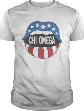 Lips chi omega american flag independence day shirt