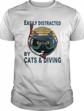 Easily Distracted By Cats And Scuba Diving Vintage Retro shirt