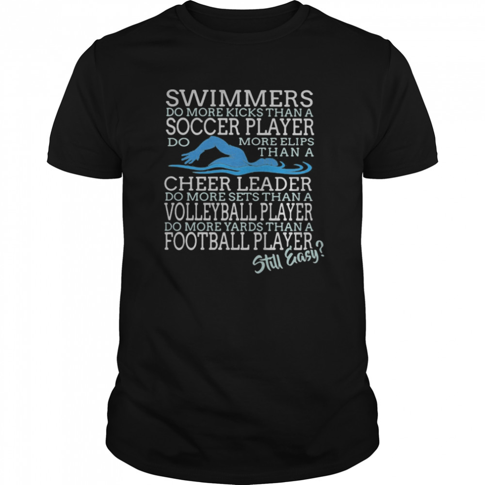 Swimmers Do More Kicks Than A Soccer Player Cheer Leader Volleyball Player Football Player Still Easy  Classic Men's T-shirt