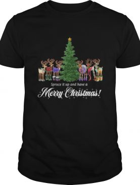 Whimsical Reindeer Spruce Tree Merry Christmas shirt