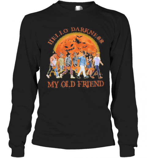 Halloween Witch Hello Darkness My Old Friend Moon T-Shirt Long Sleeved T-shirt