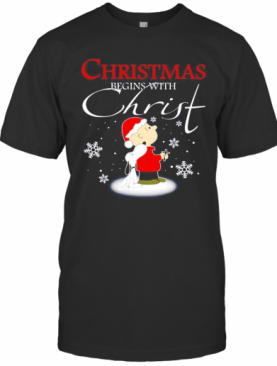 Snoopy And Charlie Brown Christmas Begins With Christ T-Shirt