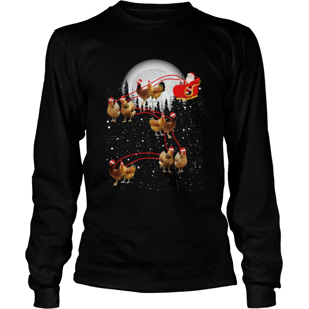 chicken with santa claus xmas Long Sleeve