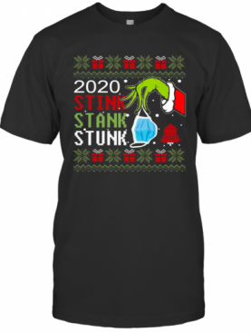 Hand Grinch Holding Mask 2020 Stink Stank Stunk Ugly Christmas T-Shirt