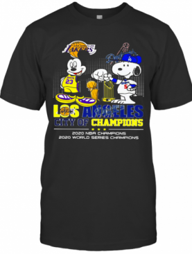 Mickey Mouse And Snoopy Los Angeles City Champions 2020 NBA Champions 2020 World Series Champions T-Shirt