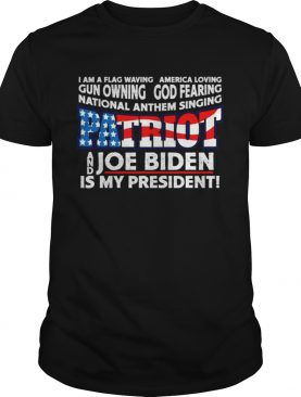 Patriots flag waving red white and blue biden is president shirt