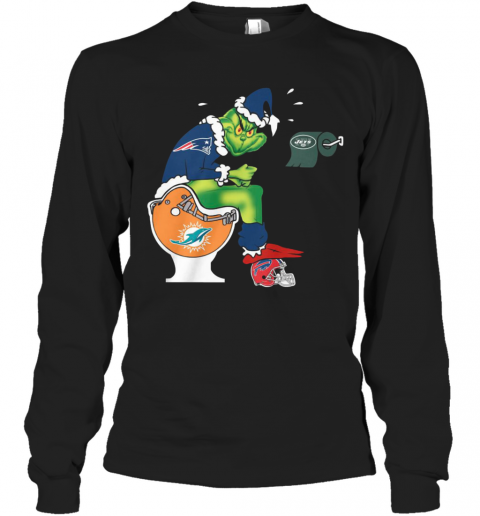 The Grinch New England Patriots Shit On Toilet Miami Dolphins And Other Teams Christmas T-Shirt Long Sleeved T-shirt