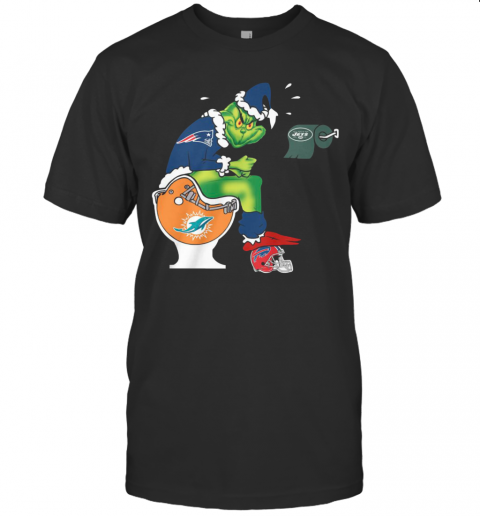 The Grinch New England Patriots Shit On Toilet Miami Dolphins And Other Teams Christmas T-Shirt