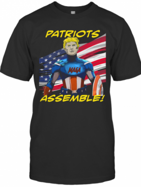 Patriots Assemble Donald Trump Maga American Flag T-Shirt