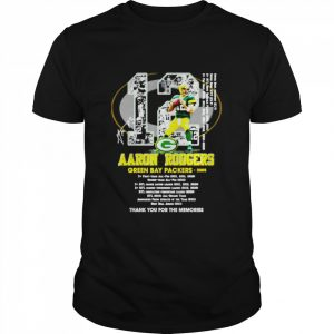 12 Aaron Rodgers Green Bay Packers thank you for the memories signature  Classic Men's T-shirt